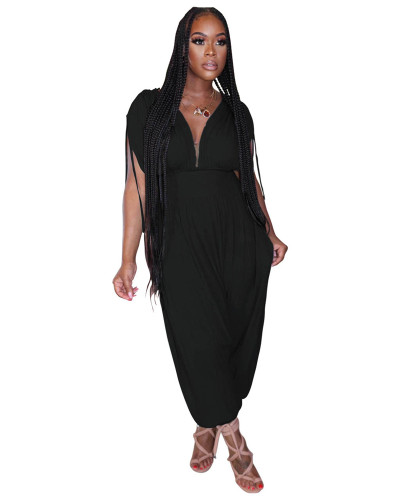 Black Solid color waist deep V loose jumpsuit