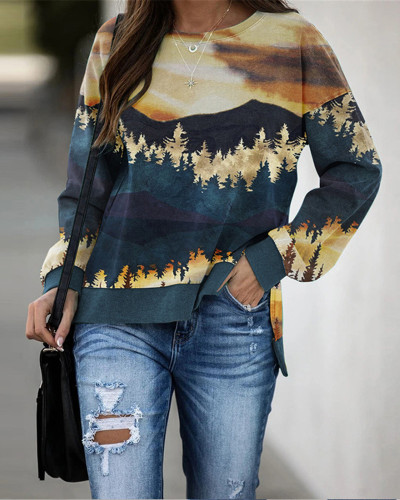 Brown Landscape print crew neck autumn and winter sweater