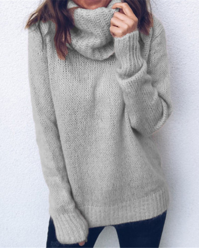 Gray Solid color long sleeve high neck pullover sweater