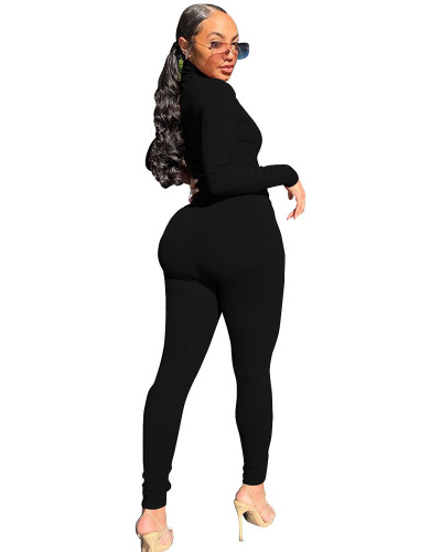 Black Two-piece casual high-neck ribbed homewear suit