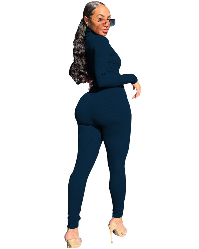 Blue Two-piece casual high-neck ribbed homewear suit