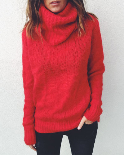 Red Solid color long sleeve high neck pullover sweater
