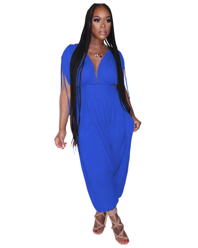 Blue Solid color waist deep V loose jumpsuit