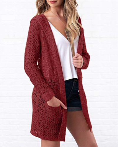 Red Knitted cardigan solid color long sweater cardigan