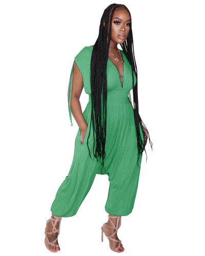 Green Solid color waist deep V loose jumpsuit