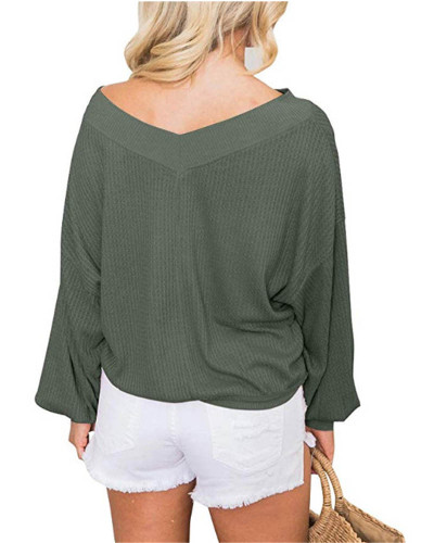 Green V-neck loose waffle long-sleeved T-shirt top sweater