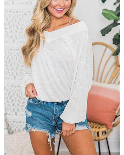 White V-neck loose waffle long-sleeved T-shirt top sweater