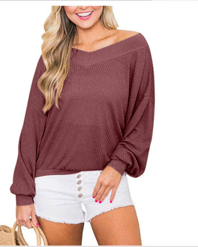 Red V-neck loose waffle long-sleeved T-shirt top sweater