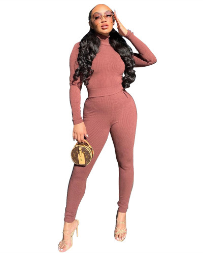 Pink Two-piece casual high-neck ribbed homewear suit