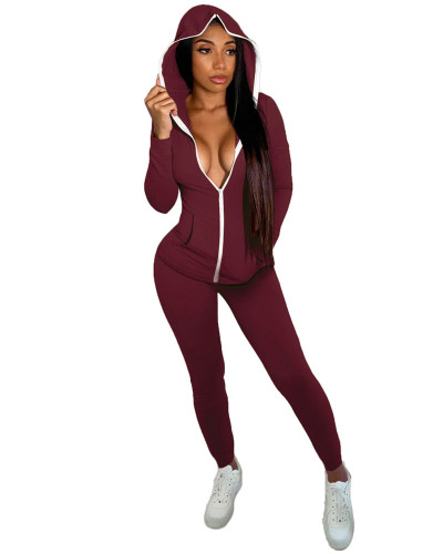 Dark Red Fashion casual hooded two-piece suit