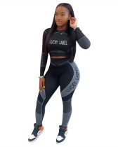 Black Letter print long sleeve casual sports suit