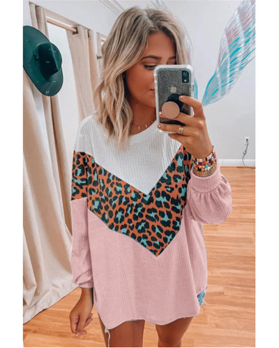 Pink Women's Long Sleeve Printed Sweater Top