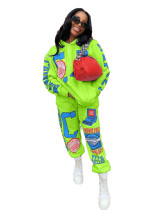 Light Blue Positioning printed two-piece set with hood