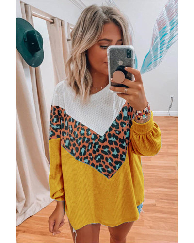 Yellow Women's Long Sleeve Printed Sweater Top