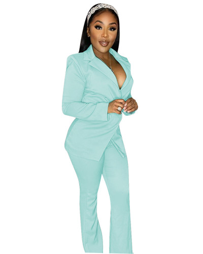 Light Blue Fashion casual suit two-piece suit