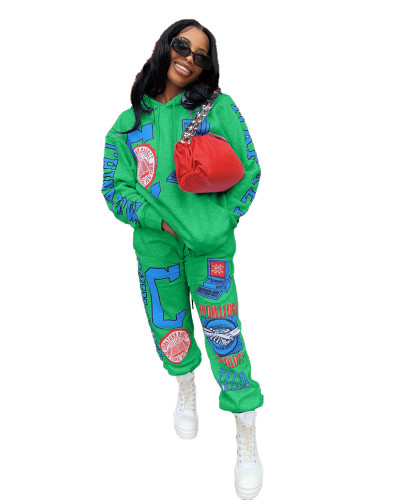 Green Positioning printed two-piece set with hood