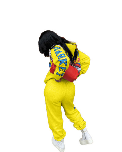Yellow Positioning printed two-piece set with hood