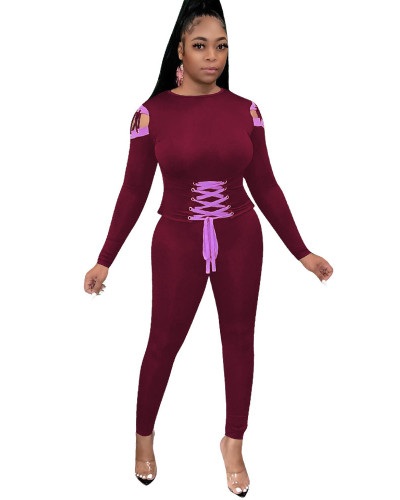 Red Casual webbing sports long sleeve suit
