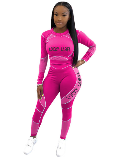 Purple Letter print long sleeve casual sports suit