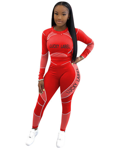 Red Letter print long sleeve casual sports suit