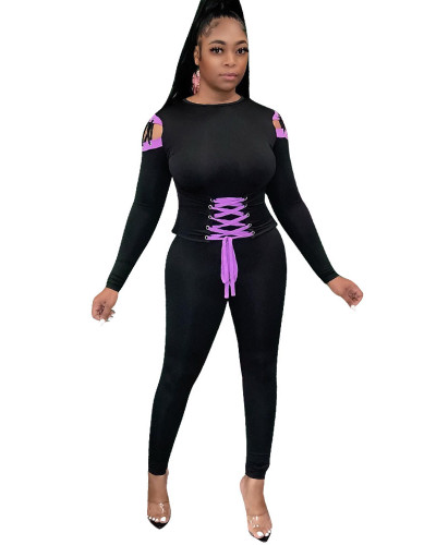 Black Casual webbing sports long sleeve suit