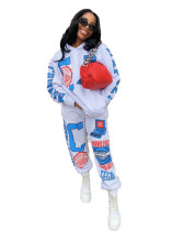 Gray Positioning printed two-piece set with hood