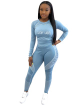 Blue Letter print long sleeve casual sports suit