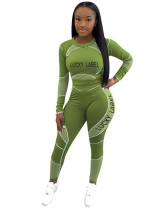 Green Letter print long sleeve casual sports suit