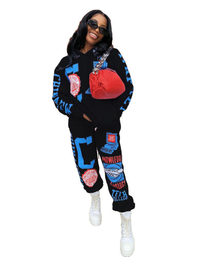 Black Positioning printed two-piece set with hood