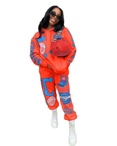 Orange Positioning printed two-piece set with hood