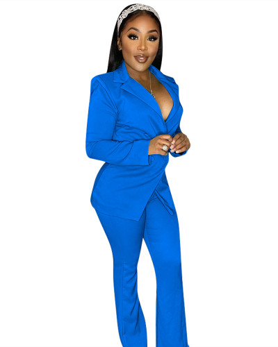 Blue Fashion casual suit two-piece suit