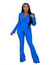 Blue Fashion casual suit two-piece suit