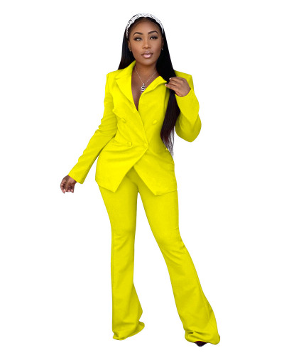 Yellow Fashion casual suit two-piece suit