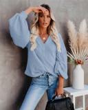 Bule Fashion Women's Loose V-neck Knit Sweater Lantern Sleeve Top