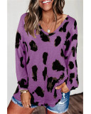 Violet Loose long sleeve printed T-shirt top