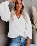 White Fashion Women's Loose V-neck Knit Sweater Lantern Sleeve Top
