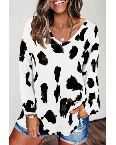 White Loose long sleeve printed T-shirt top