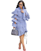 Blue Ruffled sleeves drawstring tie hem striped dress