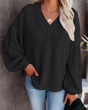 Black Fashion Women's Loose V-neck Knit Sweater Lantern Sleeve Top