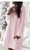 Pink Plush dress Round neck simple casual straight plush skirt