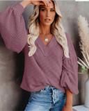 Fashion Women's Loose V-neck Knit Sweater Lantern Sleeve Top