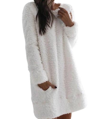 White Plush dress Round neck simple casual straight plush skirt