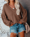 Brown Fashion Women's Loose V-neck Knit Sweater Lantern Sleeve Top
