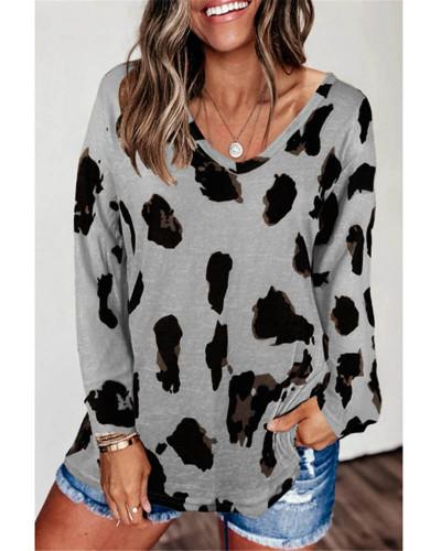 Gray Loose long sleeve printed T-shirt top