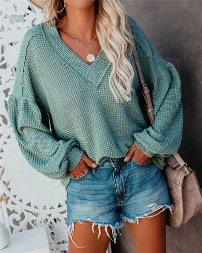 Green Fashion Women's Loose V-neck Knit Sweater Lantern Sleeve Top
