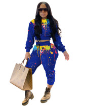 Blue Two-piece hooded long-sleeved trousers