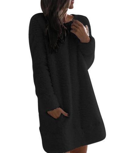 Black Plush dress Round neck simple casual straight plush skirt