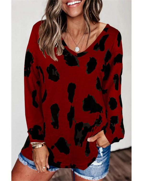 Claret Loose long sleeve printed T-shirt top