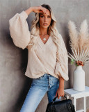 Apricot Fashion Women's Loose V-neck Knit Sweater Lantern Sleeve Top