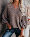 Coffee Fashion Women's Loose V-neck Knit Sweater Lantern Sleeve Top